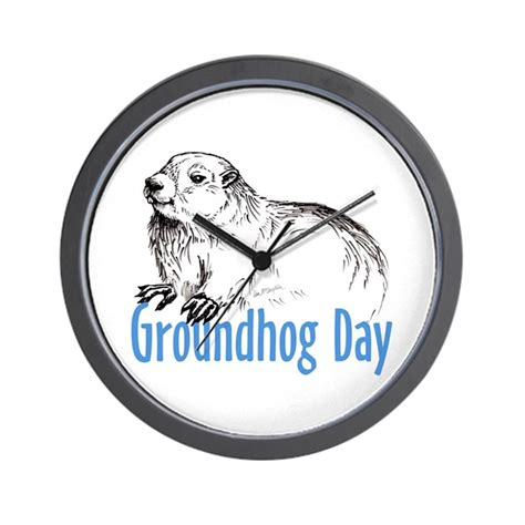 groundhog day clock groundhog day wall clock by mclaughlinwatercolor