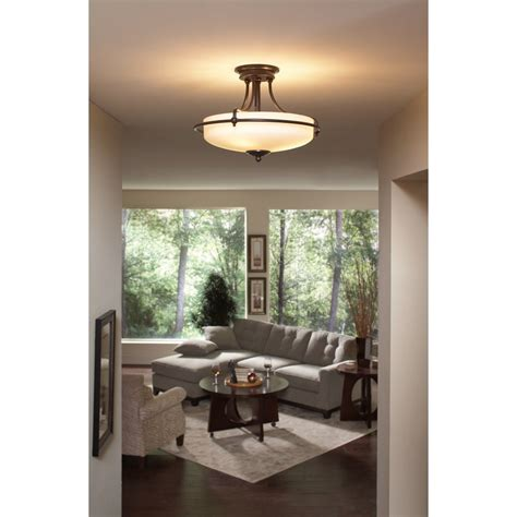 semi flush dining room light quoizel gf1717pn griffin 3 light 17 inch semi flush mount palladian bronze to ceiling