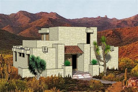 Pueblo Style Ranch Home adobe southwestern style house plan 3 beds 2 baths