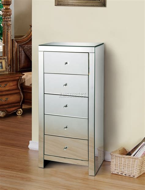 tallboy bedroom furniture foxhunter mirrored furniture glass 5 drawer tallboy chest