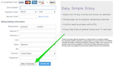 make roku account without credit card bypass roku credit card requirement zatz not
