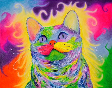 rainbow cat painting rainbow psychedelic cat painting krystle s gallery