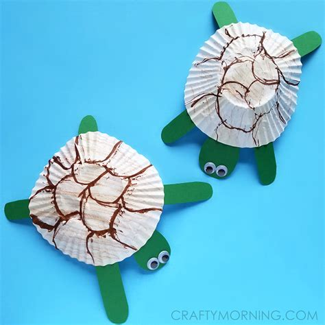 turtle paper craft cupcake liner turtle craft for crafty morning
