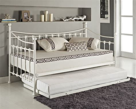 white metal trundle bed frame versailles day bed and trundle black white metal