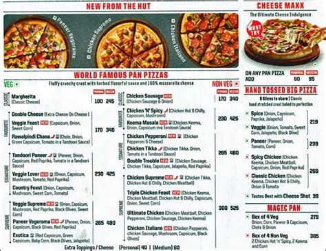 pizza hut lunch buffet menu pizza hut delivery menu menu for pizza hut delivery