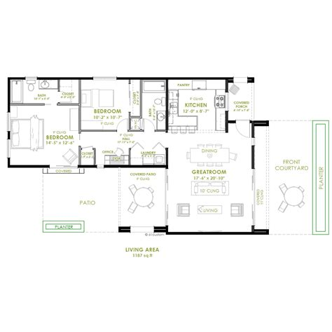 2 bedroom house floor plans modern 2 bedroom house plan