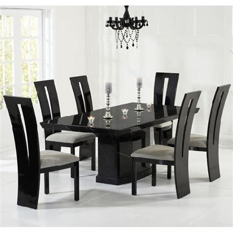 black dining tables and chairs hamlet marble dining table in black and 6 ophelia grey