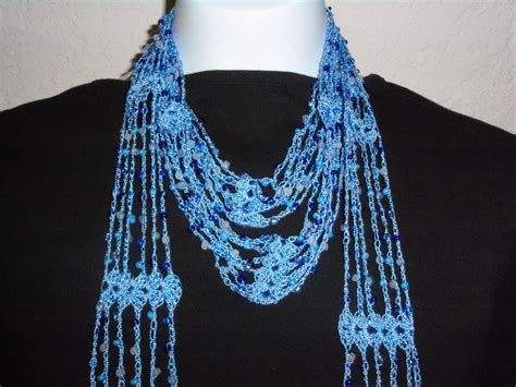 Crochet Beaded Blue Scarf With Blue New By Nanaswoolies