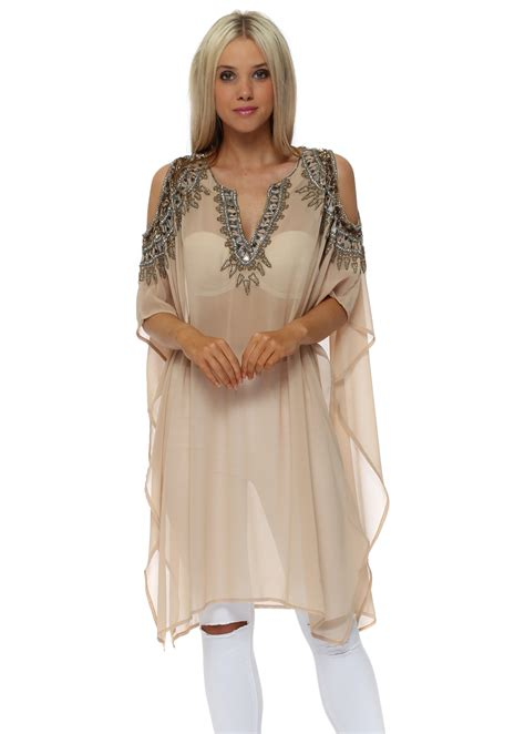 beaded cold shoulder top faust beaded cold shoulder kaftan tunics tops from