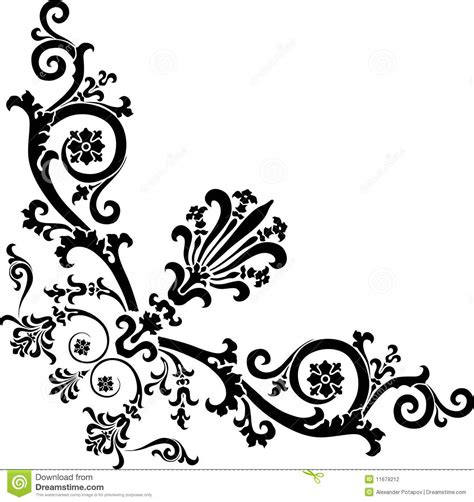 black designs black corner design with curles stock photography image