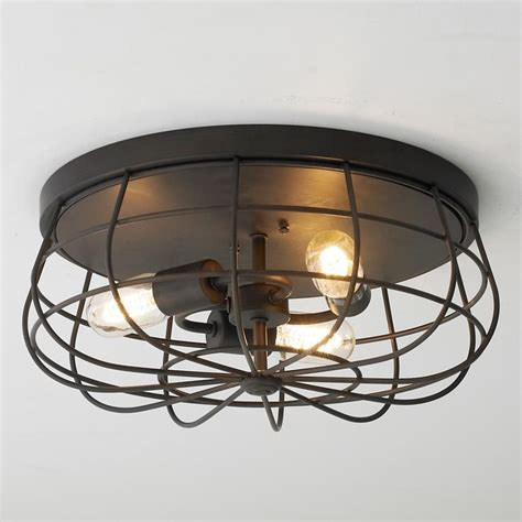 ceiling fan with cage light industrial cage ceiling light available in 2 colors
