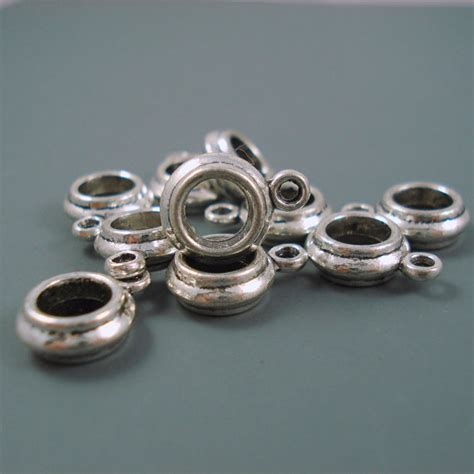 bead holder 6mm charm holder bead for leather or cord narrow large