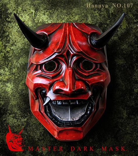hannya mask 107 red japanese noh style fiberglass by
