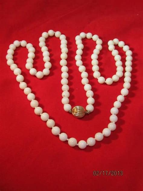white coral bead necklace white coral beaded necklace from thesteffencollection on