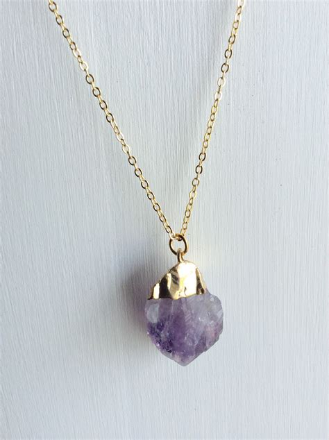 jewelry necklaces gold cut amethyst necklace handmade jewelry by
