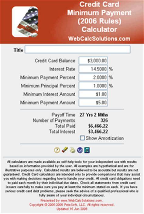 minimum payment on a credit card cc minimum payment 2006 calculator information