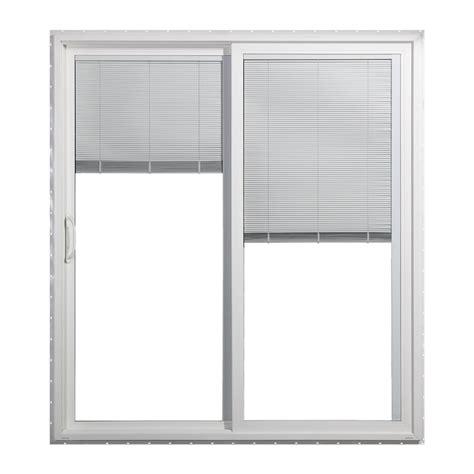 jeld wen sliding patio doors shop jeld wen 59 5 in blinds between the glass white vinyl
