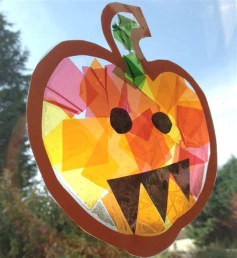 pumpkin crafts for stained glass pumpkin suncatcher crafts on sea