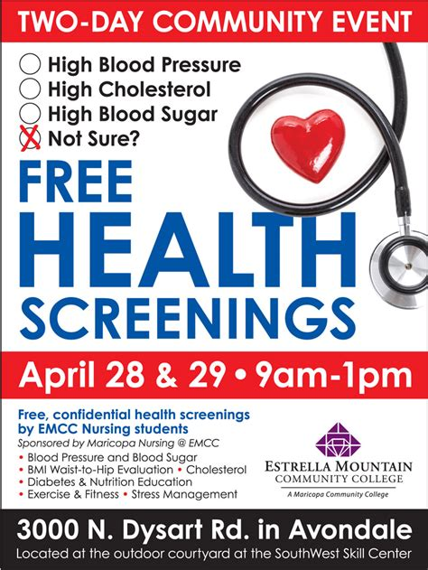 fitness flyer template free health screening event at emcc april 28 29