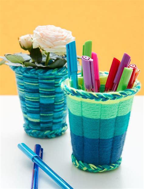 easy yarn crafts for easy yarn crafts for cup weaving tutorial favecrafts