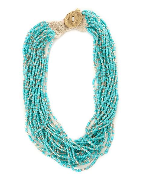 seed bead necklace lucky brand turquoise seed bead necklace in blue