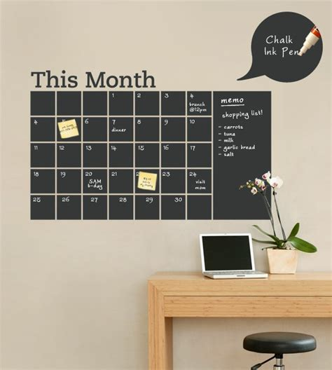 diy chalkboard walls chalkboard wall calendar with memo vinyl wall by simpleshapes