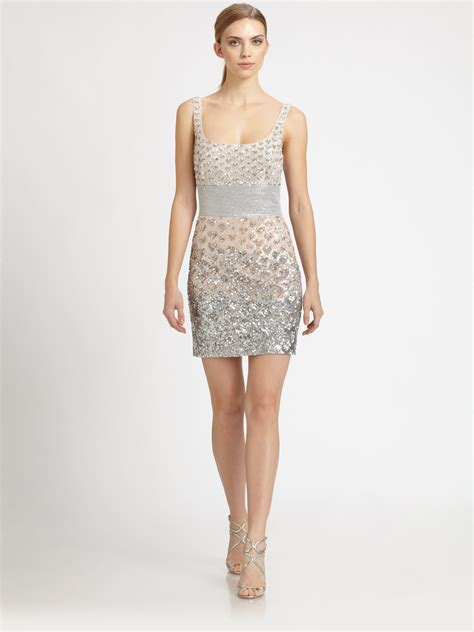 metallic beaded dress badgley mischka beaded dress in metallic lyst