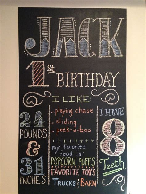 chalkboard diy birthday 1st birthday chalkboard display with stats and