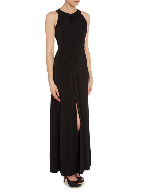 beaded halter maxi dress michael kors beaded halter neck maxi dress in black lyst