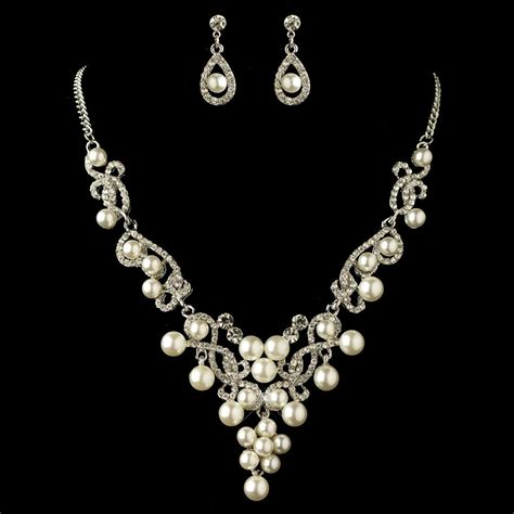 jewelry set rhodium white pearl rhinestone swirl jewelry set 4213