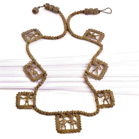 brass chain for jewelry tribal figurine pendent necklace brass chain