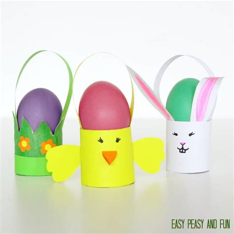 easter toilet paper roll crafts toilet paper roll easter craft baskets easy peasy and