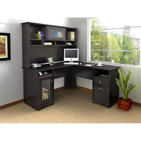 home desks with hutch bush cab004epo cabot collection 60 l shaped desk package