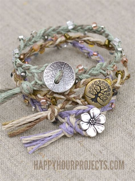 how to put a clasp on a beaded necklace diy beaded button clasp hemp bracelets happy hour projects