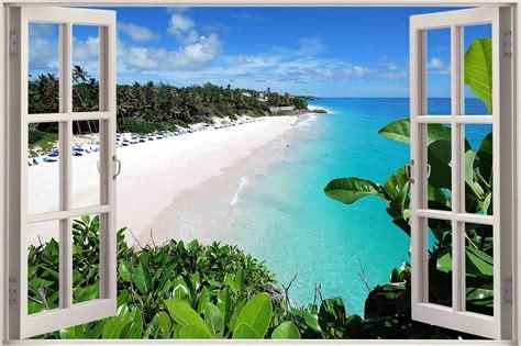 Lighthouse Wall Sticker huge 3d window view exotic ocean beach wall sticker film