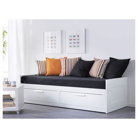 white bed frame with drawers brimnes day bed frame with 2 drawers white 80x200 cm ikea
