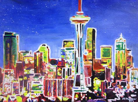 paint nite seattle neon shimmering skyline of seattle with space needle with