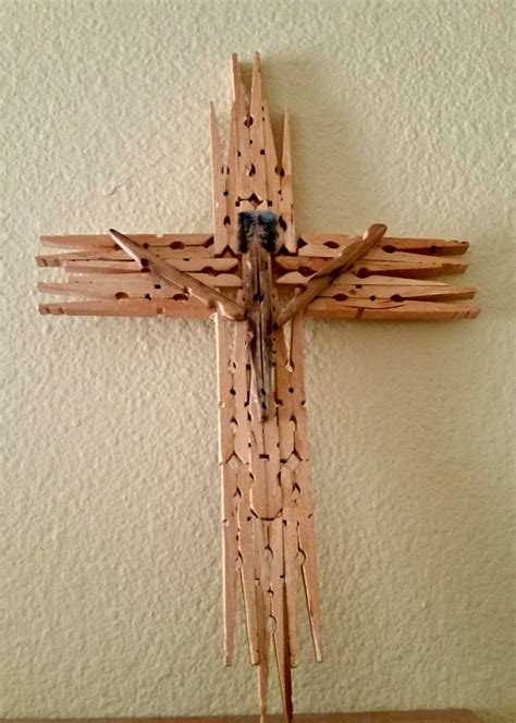 wooden clothespin crafts for gift wooden cross