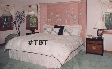 Glamorous Homes Interiors 1980 s bedroom in peach and green is out of style