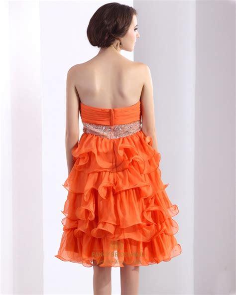 orange beaded dress orange sweetheart beaded organza strapless homecoming