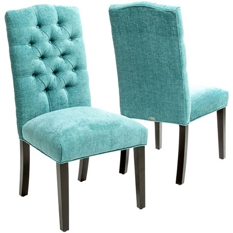 tufted parsons dining chair turquoise macie set of 2 tufted parsons dining chairs