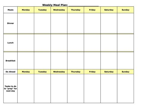 search results for weekly menu planner template