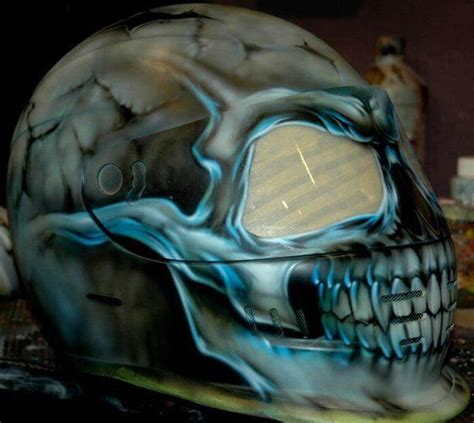 glow in the paint motorcycle airbrushed skull helmet helmets that are cool or just