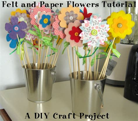 felt paper craft felt and paper flowers tutorial diy craft project