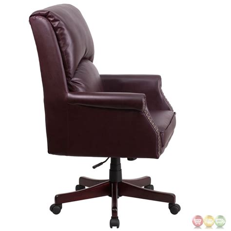 leather swivel office chair high back pillow back burgundy leather executive swivel