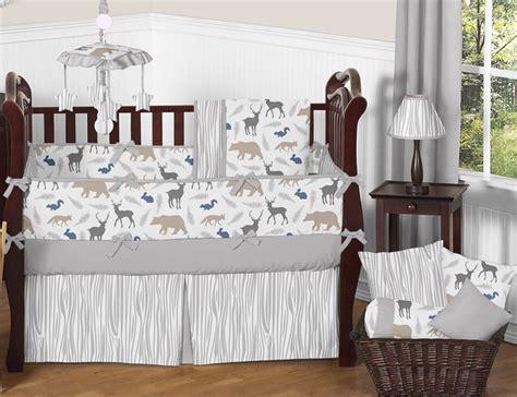 woodland nursery bedding set gray white forest animal safari deer fox neutral baby