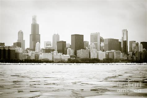 chicago skyline in winter photograph by paul velgos