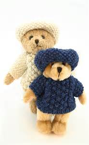 teddy cardigan knitting pattern teddy wearing knitted aran sweater and cap by