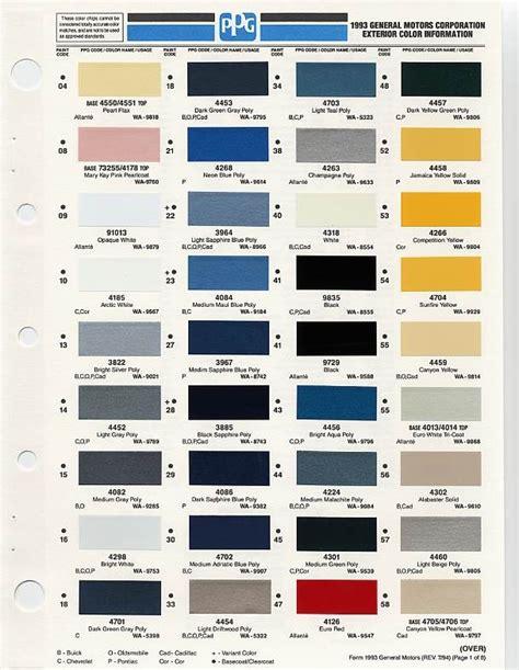 paint colors and codes gm color chips color chip selection auto paint colors