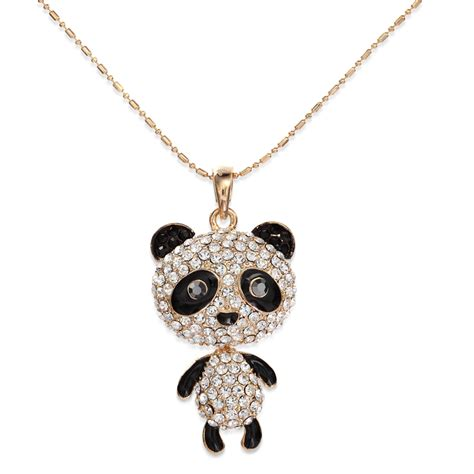 jewelry pendants rhinestone panda pendant necklace panda animal necklace